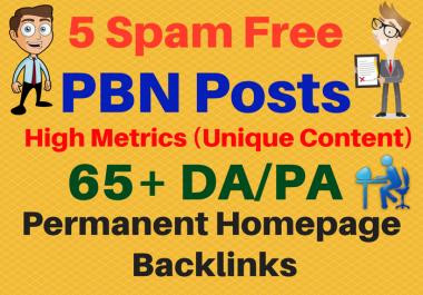 Ultra Premium 5 PBN High Metrics 65+ DA/PA Contextual Permanent Backlinks