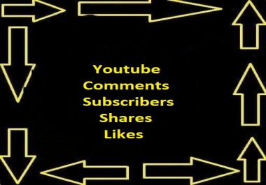 This service offered through Social Exchanges  52+Youtube Custom Comments + 52 Youtube likes +52 Youtube Shares