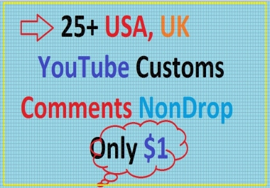 25+ Custom youtube comments USA, UK  non drop