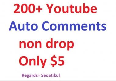 200+ Auto Youtube Comments non drop Fast