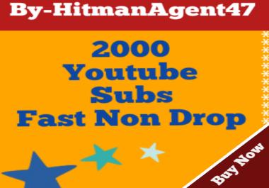 2000 YouTube Subs criber Fast & Safe Non drop