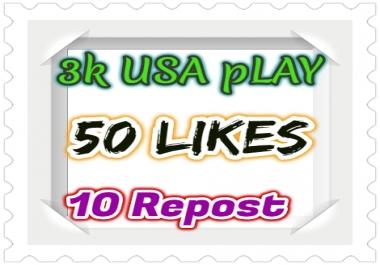 3000 USA/UK Play 50 High Quality Likes