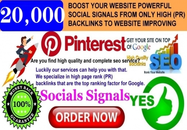GET POWERFUL 20.000 PINTEREST SHARE SOCIAL SIGNALS FROM ONLY HIGH (PR) BACKLINKS TO WEBSITE IMPROVING