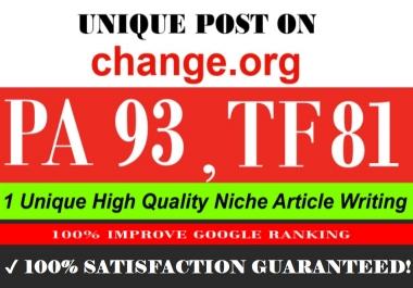 Publish a Guest post on Change.org DA 93