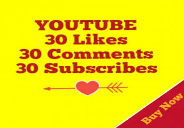 Guaranteed 30+YouTube Custom Comment+30 Subscribers+30 YouTube Likes