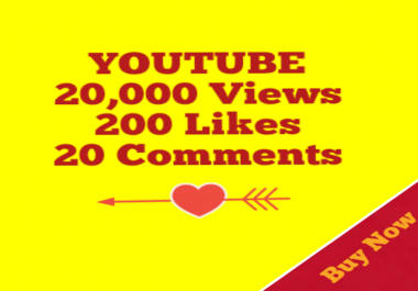 Guaranteed 20000+YouTube Views+200 Likes+20 YouTube Custom Comment Non Drop