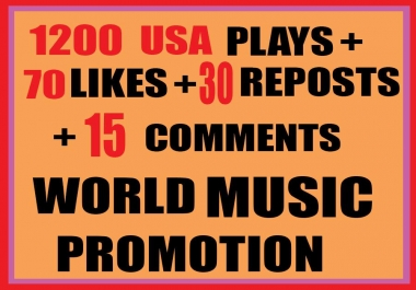 ADD 1200  USA  PLAYS WITH 70 LIKES 30 REPOSTS 15 CUSTOM COMMENTS
