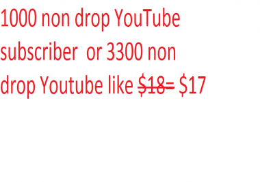 1000 non drop YouTube subscriber  or 3300 non drop Youtube likes
