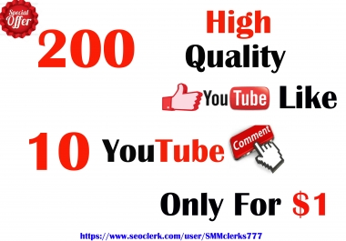 200 High Quality YouTube Like & 10 YouTube Comments