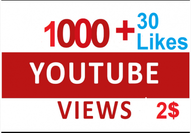 Instant Start 1000+ Non Drop YouTube HR Views and 30 likes within 1-3 hours