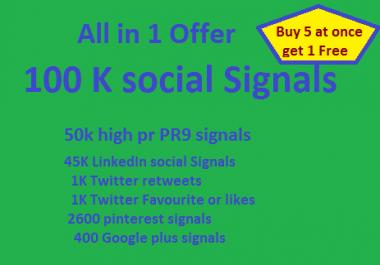 All in One offer 100K seo Social Signals high pr backlinks PR9 google plus linkedin twitter pin