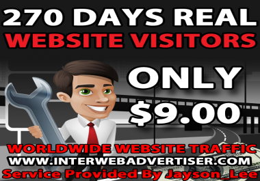 9 Months Web Traffic To Your Website, Blog or Affiliate Link