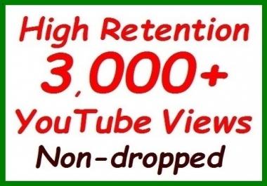 2000+ to 2500+ YouTube Veiws fully safe ranking video, non-dropped guaranteed