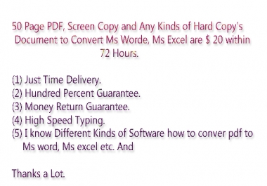 50 Page PDF Document Convert to Ms Word, Ms Excel  within 72 hours.