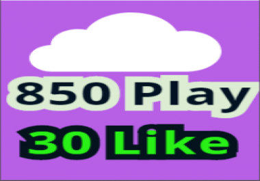 Soundcloud 850 high retention Play 30 Likes 10 Repost some  Comments