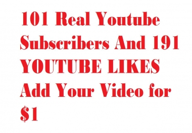 101 Real Youtube Subscribers  or 1000+ Youtube Views Add Your Video