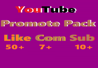 Instant YouTube Video Promotion Pack All In One Like, Comments & Subscriber Just