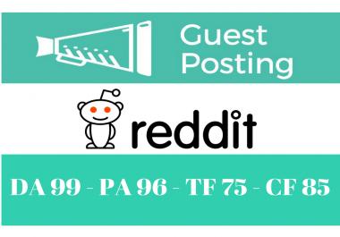 Get you contextual DOFOLLOW backlink from Reddit.com DA99, PA96