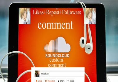 Soundcloud 30+custom comments+Followers+Likes+Repost Within 2-3 hours