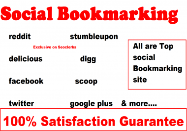 Submit your website manually to 100  Social Bookmarking