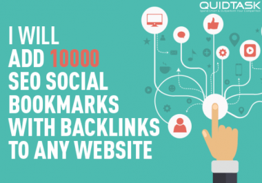 10,000 Social Bookmarks with backlinks for your website and keywords
