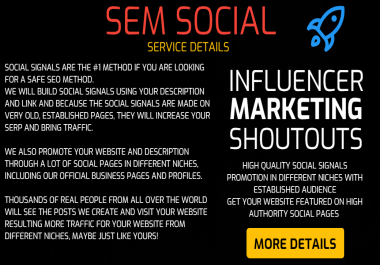 SEM Social - 50 High Quality Social Signals and Promotion In Different Niches with Established Audience
