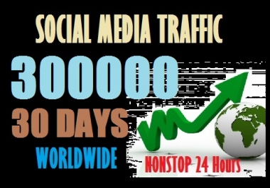 300000 Web Traffic Worldwide from Social Media sites