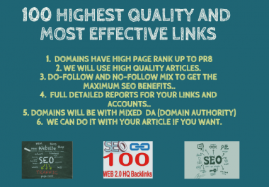 I Will Do 100 Highest Quality And Most Effective Backlinks With Quality Articles