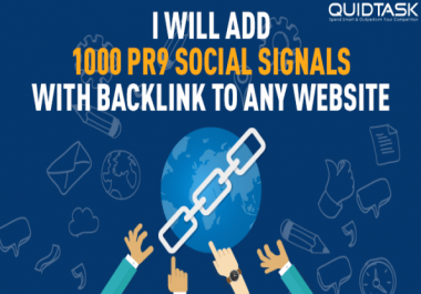 Build 1000 PR9 Social Signals and promote to 1 Million people to boost your SERP and Traffic