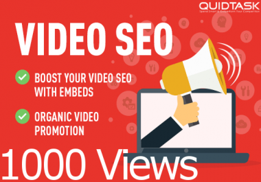 YouTube SEO - 1000 Views, 1000 Embeds, 50 PR9 Social Signals