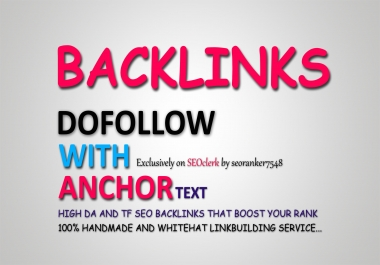 30 Authority Backlinks - Dofollow With Anchor Text