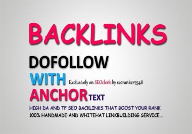 25 High DA Dofollow With Anchor Text SEO Backlinks