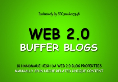 Handmade Web 2.0 Buffer Blogs with Login, Unique Content And Image