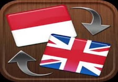 700 words++ English to Indonesia (bahasa) Translation and Vice Versa