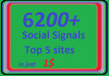 6200+ HQ Social Signals from 5 best Social Media sites PR9 Googleplus LinkedIn Pinterest Twitter