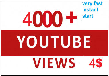 Provide 4000+ Youtube Non drop views On Your Account