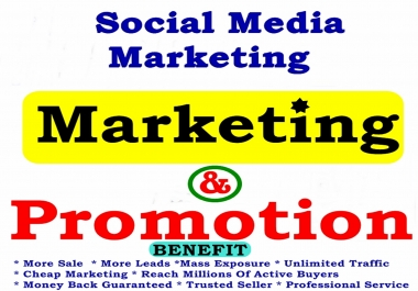 Massive PROMOTION and Marketing  - Provide Cheap Complete Highly Professional Social Media Reaching Over 3,000,000 OR  5,000,000 - REAL Human - LIMITED Time Offer Hurry NOW!!!