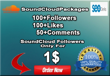 EXCELLENT SOUNDCLOUD PACKAGE 100+ LIKES, 100+ REPOST AND 50+ COMMENTS JUST ONLY FOR $1