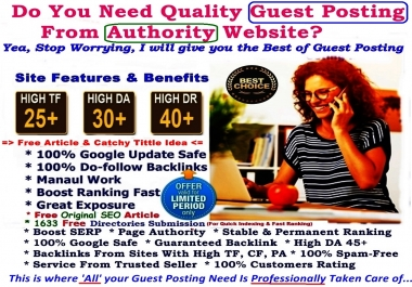 Authority Guest Post  - Submit 2 Permanent High Quality Premium Guest Posts On  2  QUALITY Websites with -High TF DA CF PR PA Sites - Benefits Traffics Backlinks and Exposure -GUARANTEED Service