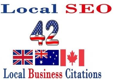 Create 42 UK/Canada/Australia USA Live Local CITATION for Local SEO