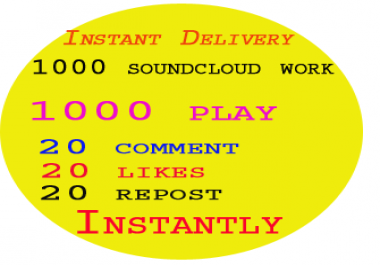 1000 soundcloud likes or repost or followers or 550 comment instantly