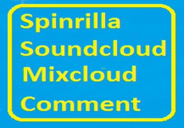 25+ Spinrilla/Soundcloud/Mixcloud Custom Comment For Your Track