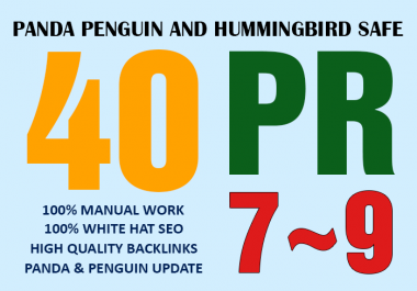 Manually create 40 PR9-7 Hummingbird Safe White Hat SEO Backlinks
