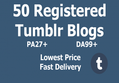BEST PRICE - 50 Registered Expired Tumblr Blogs