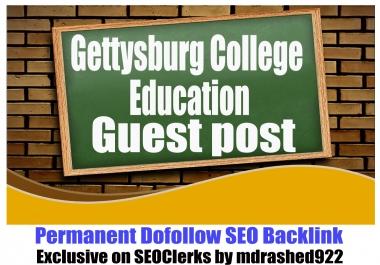 Guest post on Gettysburg College with SEO DoFollow Edu Backlinks DA68