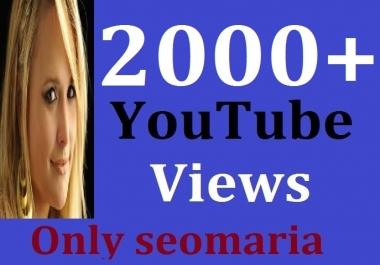 2000+ YouTube Views Non Drop Guarantee 12/24 Hours