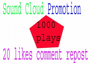 manually 1000 soundcloud plays 20 like+comment+repost within 24 or 25 hours