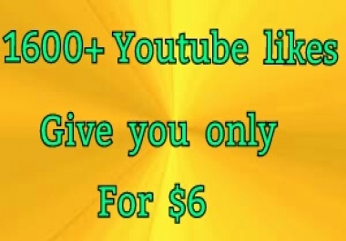 1600+ youtube video likes give you 24-48 hours
