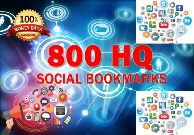 800 SEO Social Bookmarks High Quality Backlinks, Rss, Ping