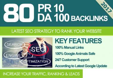 80 Unique Pr10 -6 SEO Backlinks On DA100 Sites